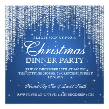 Christmas Themed Elegant Dazzle Christmas Holiday Party Blue Card