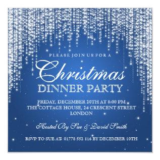 Elegant Dazzle Christmas Holiday Party Blue Card at Zazzle