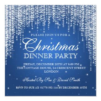 Elegant Dazzle Christmas Holiday Party Blue Invitation