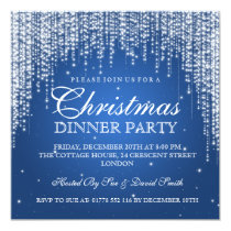 Elegant Dazzle Christmas Holiday Party Blue Invitation