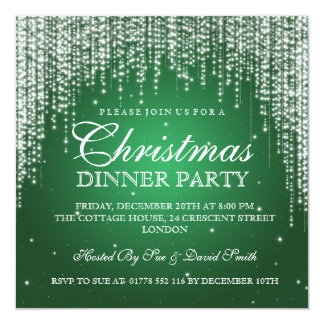 Elegant Dazzle Christmas Holiday Party Green Card