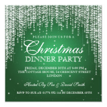 Elegant Dazzle Christmas Holiday Party Green Invitation