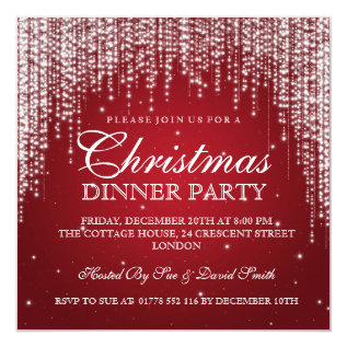 Elegant Dazzle Christmas Holiday Party Red Card at Zazzle