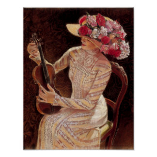 Elegant Decor Art Poster Victorian Lady floral hat