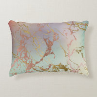Elegant Decor | Trendy Marble Sage Green Rose Gold Accent Pillow