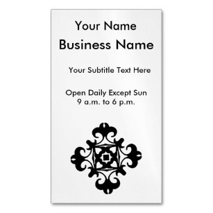 Vintage black white french business cards templates zazzle elegant decorative florette vintage french magnetic business card reheart Gallery