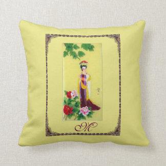 Elegant Decorative Pillow w/Vintage Chinese Motif