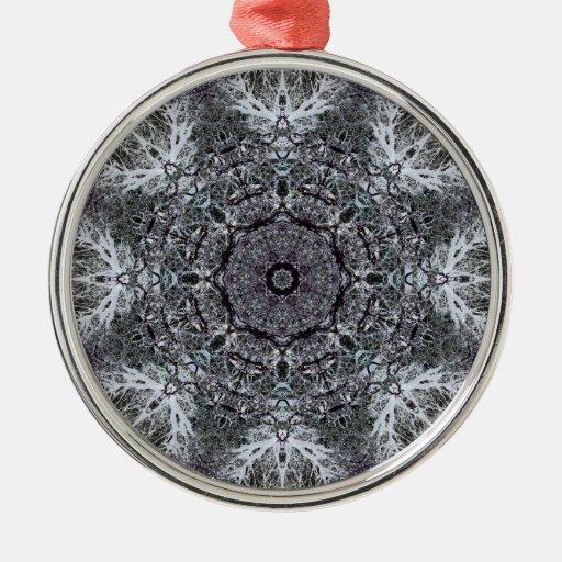 Elegant Decorative Round Pattern. Custom Round Metal Christmas Ornament