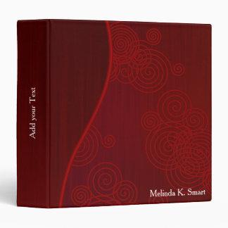 Elegant Deep Dark Red with Swirls 3 Ring Binder