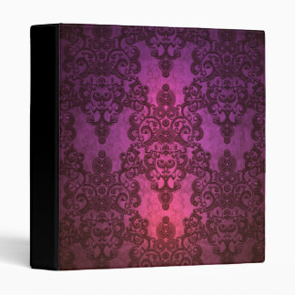 Elegant Deep Glowing Pink and Purple Damask 3 Ring Binder