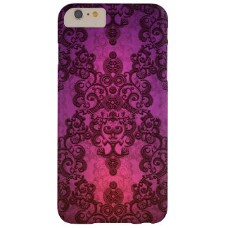 Elegant Deep Glowing Pink and Purple Damask Barely There iPhone 6 Plus Case