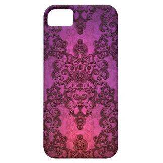 Elegant Deep Glowing Pink and Purple Damask iPhone 5 Case