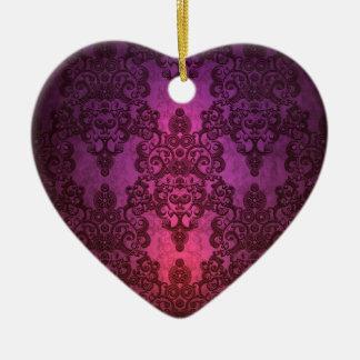 Elegant Deep Glowing Pink and Purple Damask Ceramic Ornament