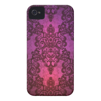 Elegant Deep Glowing Pink and Purple Damask iPhone 4 Case-Mate Case