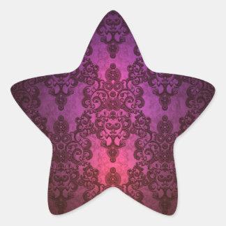 Elegant Deep Glowing Pink and Purple Damask Star Sticker