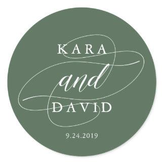 Elegant Deep Green and White Calligraphy Wedding Classic Round Sticker