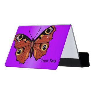 Elegant Deep Orange Monarch Butterfly on Purple Desk Business Card Holder