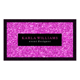 Elegant Deep Pink Glitter With Black Accents Business Card