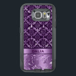 "Elegant Deep Purple Floral Damask Metallic Texture OtterBox Samsung Galaxy S6 Case<br><div class=""desc"">Elegant purple and black floral lace damasks pattern with metallic texture print accent.