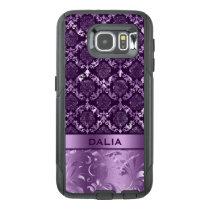 Elegant Deep Purple Floral Damask Metallic Texture OtterBox Samsung Galaxy S6 Case