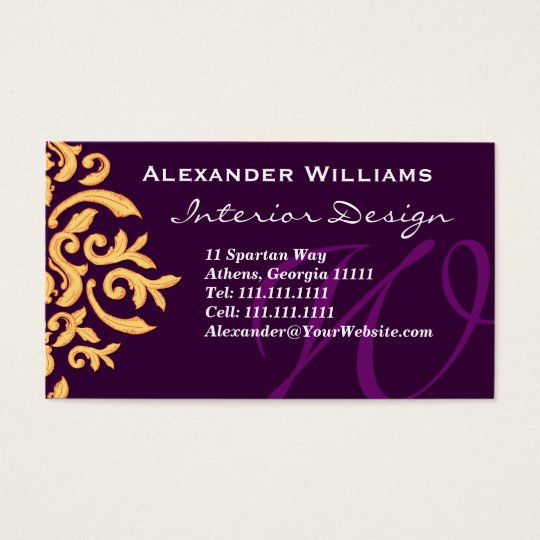 Elegant Deep Purple Monogram W Customizable Business Card