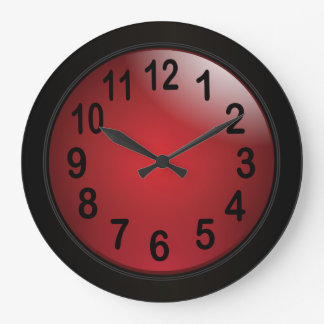 Elegant Deep Red and Black with Bold Black Numbers Large Clock