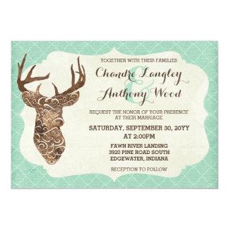 Elegant Deer Antlers Rustic Country Wedding Card