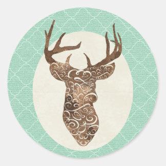 Elegant Deer Antlers Rustic Country Wedding Classic Round Sticker