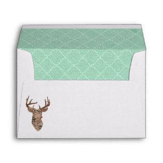 Elegant Deer Antlers Rustic Country Wedding Envelope
