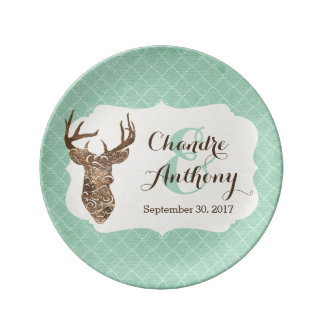 Elegant Deer Antlers Rustic Country Wedding Gift Plate