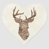 Elegant Deer Antlers Rustic Country Wedding Heart Sticker