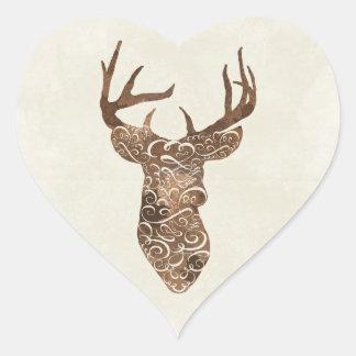 Elegant Deer Antlers Rustic Country Wedding Heart Sticker
