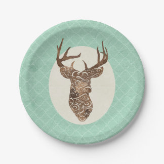 Elegant Deer Antlers Rustic Country Wedding Paper Plate
