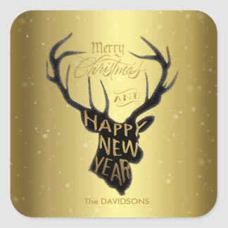 Elegant Deer Gold Foil Holiday Wishes Typography Square Sticker