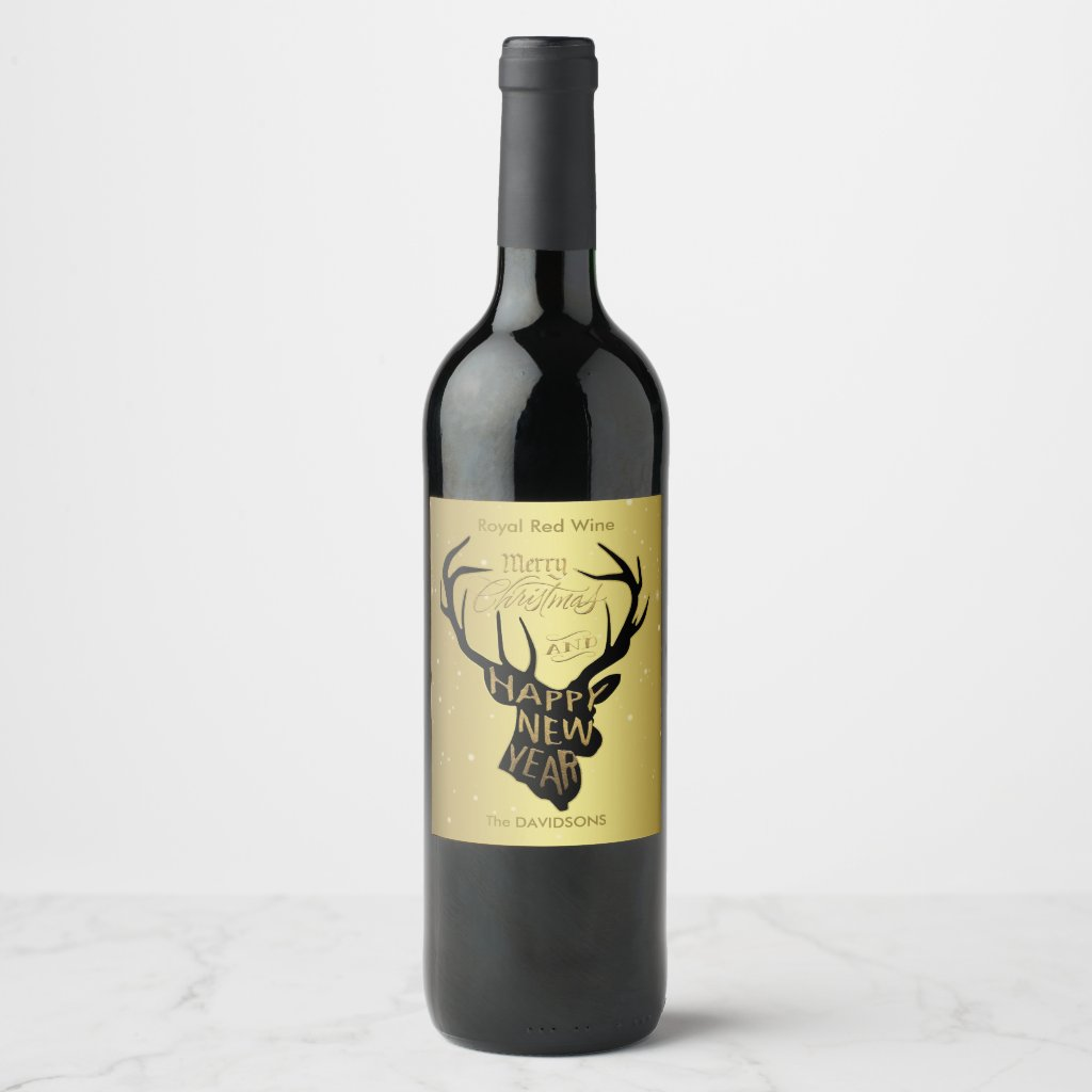 Elegant Deer Gold Foil Holiday Wishes Wine Label