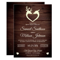 Elegant Deer Heart Rustic Wood Wedding Invitation