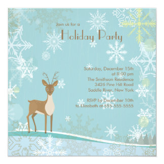 "Elegant Deer Snowflakes Holiday Party Invitation 5.25"" Square Invitation Card"