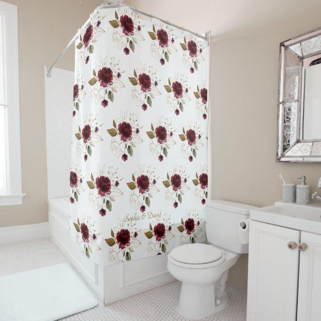 Elegant Delicate Burgundy Gold Flowers Monogram Shower Curtain Zazzle Com