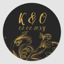 Elegant Delicate Floral Wedding Invitation Classic Round Sticker