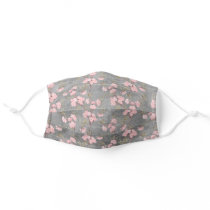 Elegant Delicate Pink Flowers Blossoms Gray Adult Cloth Face Mask