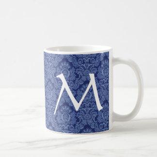 Elegant DENIM BLUE Damask Monogram Mug