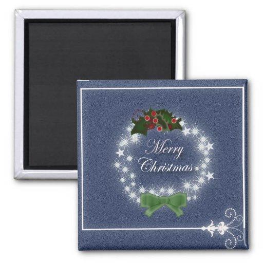 Elegant Denim Christmas Wreath 2 Inch Square Magnet