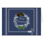 Elegant Denim Christmas Wreath Card