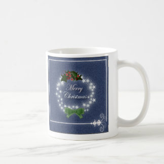 Elegant Denim Christmas Wreath Coffee Mugs