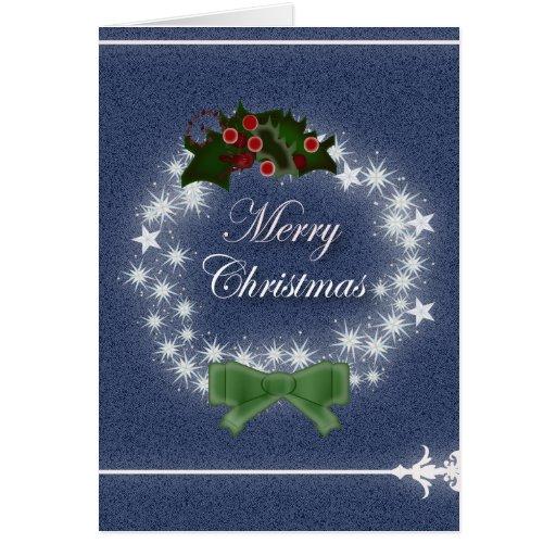 Elegant Denim Christmas Wreath Greeting Card