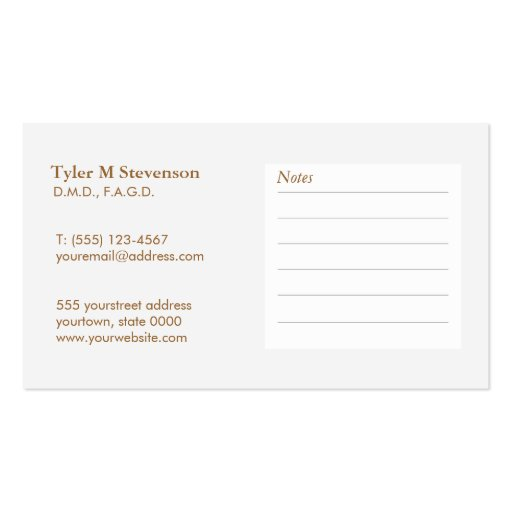 Elegant Dentist Office Appointment  Business Card (back side)