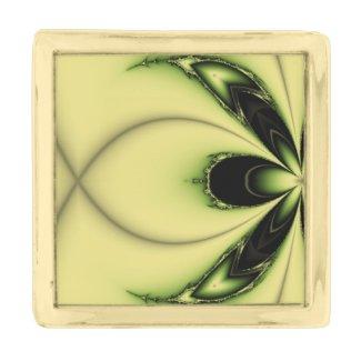 Elegant Design Green Butterfly Fractal Gold Finish Lapel Pin