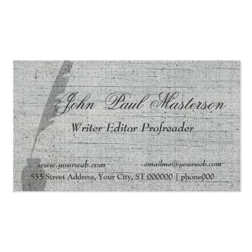 Elegant Design Writer Editor Business Card Templates