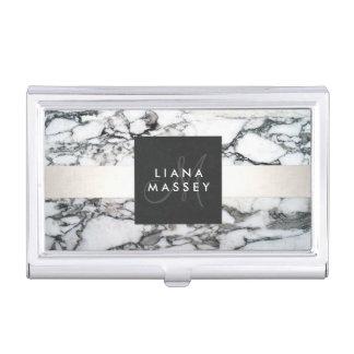 Elegant Designer Black and White Marble Monogram Business Card Case