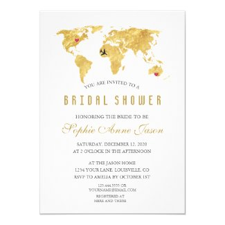 Elegant Destination Gold World Map Bridal Shower Invitation